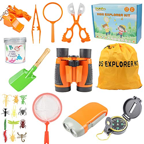 ZesNice Outdoor Explorer Kit, 23PCS Kids Explorer Kit Gifts Toys with Kids Binoculars Set,Outdoor Exploration Set,Best for Age 3-12 Year Old Boy and Girl, Children Outdoor Educational Kit.