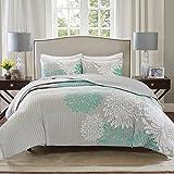 Comfort Spaces Enya 3 Piece All Season, Lightweight Coverlet, Cozy Bedding, Matching Shams, Decorative Pillows, Full/Queen(90'x90'), Aqua