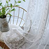 White Lace Curtains 1 Panel Floral Sheer Panel for Living Room Rod Pocket Voile Drapes Embroidered Country Curtain Tulle Window Treatment for Sliding Glass Door , W39 x L96 Inch