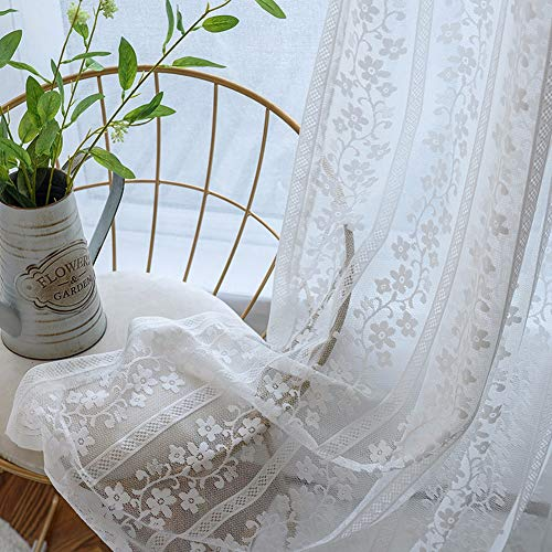 White Lace Curtains 1 Panel Floral Sheer Panel for Living Room Rod Pocket Voile Drapes Embroidered Country Curtain Tulle Window Treatment for Sliding Glass Door , W114 x L84 Inch