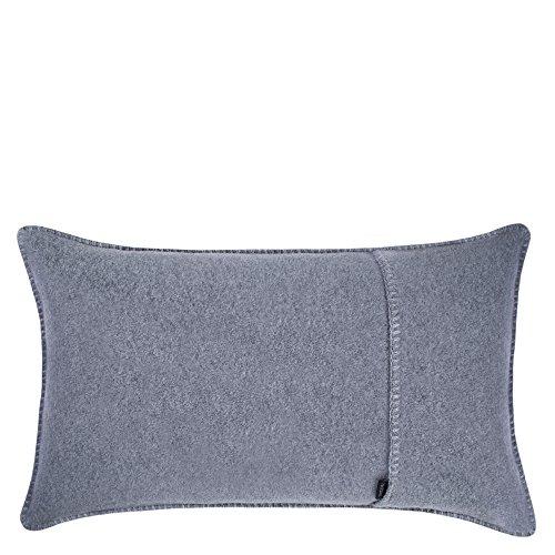 Soft-Fleece-Kissenbezug – Polarfleece mit Häkelstich – weiche, hochwertige Sofa-Kissenhülle – 30x50 cm – 940 medium grey mel. – von 'zoeppritz since 1828'