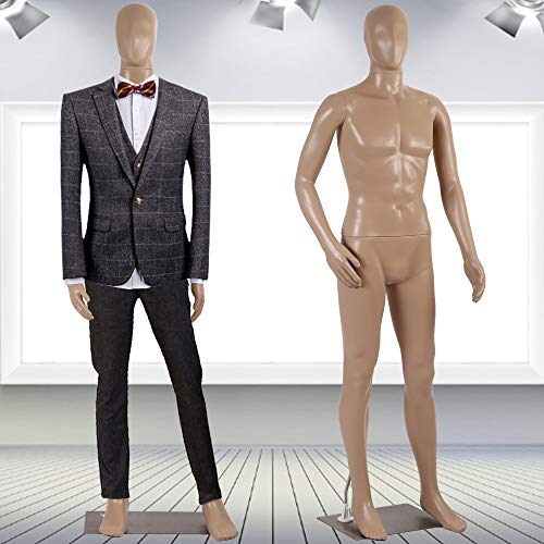 """Mannequin Torso Manikin Dress Form Male 73"""" Adjustable Detachable Realistic Full Body Mannequin Model Display with Metal Base Plastic Head Turns Poseable Adult Dummy Mannequin Stand, Nude"""