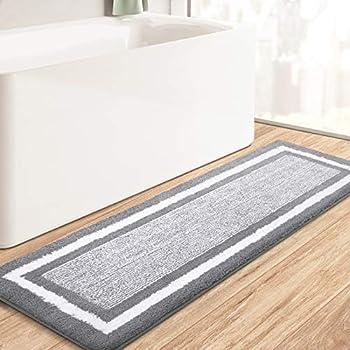 KMAT Bathroom Rugs Bath Mat,Non-Slip Fluffy Soft Plush Microfiber Bath Rugs Machine Washable Quick Dry Shaggy Shower Carpet Rug for Bathroom Tub and Shower,Grey,20 x59