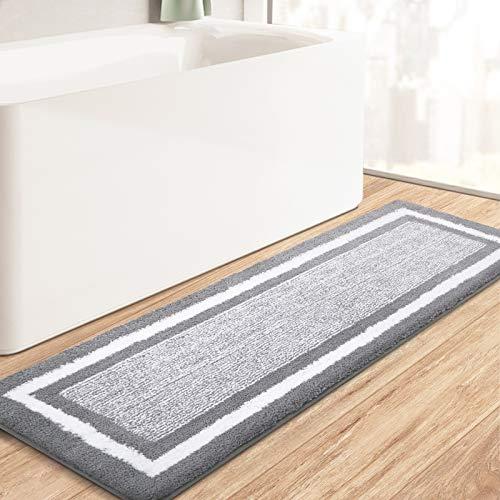 "KMAT Bathroom Rugs Bath Mat,Non-Slip Fluffy Soft Plush Microfiber Bath Rugs, Machine Washable Quick Dry Shaggy Shower Carpet Rug for Bathroom, Tub and Shower,Grey,20""x59"""