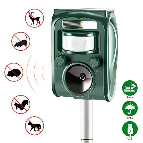 XQINCAI Ultrasonic Animal Repeller Solar Power Animal & Pest Repellent, Mosquito Repellent Outdoor Device with Ultrasonic, Deterrent Cat Mosquito Repellent for Solar Cells in The Garden (Green)