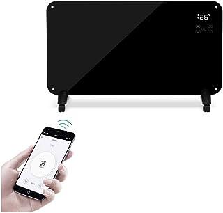 Wifi Inteligente Vertical Radiadores Bajo Consumo,Electrico Convector Calefactor Baño Pared 2000W,Pantalla LED Panel Termostato,con Programable Temporizador, IPX4 Prueba de Agua ( Color : Negro )