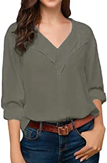 Comaba Womens V Neck Long Sleeves Loose Solid Color Chiffon T Shirt Blouse