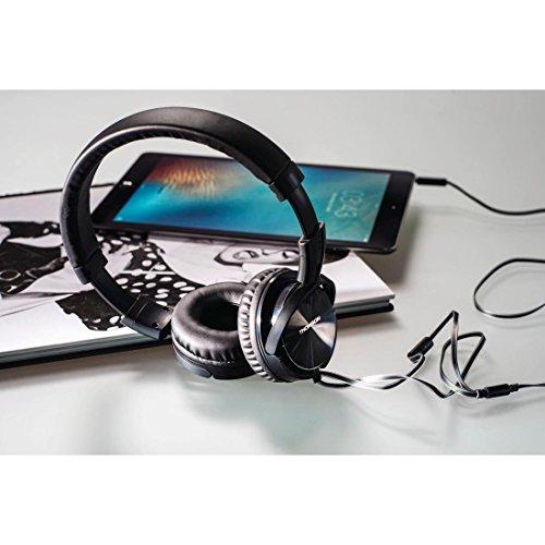 Thomson On-Ear Kopfhörer Headset (Kabelmikrofon, leichte 147 Gramm, verdrillfreies Flachbandkabel, 3,5 mm Klinkenstecker vergoldet, Kabellänge 120 cm) schwarz