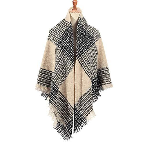 ZZYWJS sjaal Winter Sjaal Merk Vrouwen Sjaals Ontwerper Gebreide Warm Sjaals En Wraps Plaid Grote Vierkante Deken Lady
