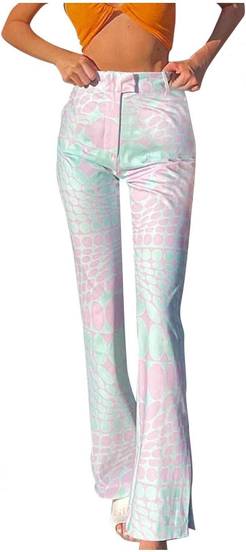 Misaky Womens Flare Pants Casual Y 2K High Waist Tatting Comfy Fashion Ins Holiday Long Pants