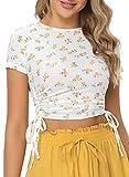 Mujeres Casual Verano Camisa Floral Corto Sleeved Cultivos Superior Tipo Camisa Tener Cordón Amarillo S
