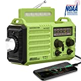 NOAA Emergency Weather Alert Radio, Solar Hand Crank Portable AM FM SW Radio with SOS Alarm, Flashlight & Reading Lamp, 2000mAh Power Bank, USB Cellphone Charger, Strap,Compass for Household & Outdoor