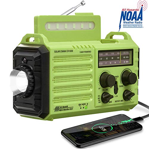 Weather Radio NOAA Alert Emergency Radio,Solar/Hand Crank/AM FM Shortwave Portable Radio with Battery Backup,SOS, Flashlight/Reading Lamp,2000mAh Rechargeable Battery,USB Charger for Outdoor Survival