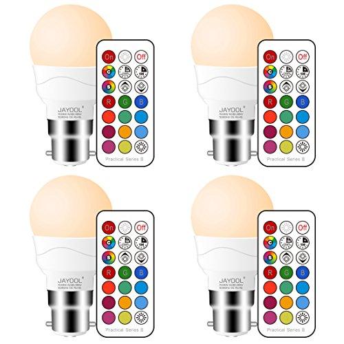 Jayool Ampoules à LED Changement de Couleur, Dimmable 3W B22 Baïonnette RGBW Ampoules, 12 RGB Couleurs + Blanc Chaud, Double mémoire et Timing, Télécommande Incluse (Lot of 4)