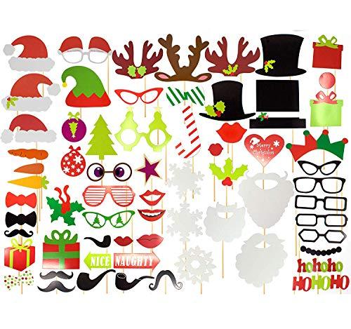 Paquete de 65 - Accesorios Festivos de Navidad para Photocall, Photo Booth...