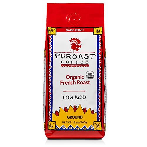 Puroast Coffee Low Acid Ground Coffee, Organic French Roast, High Antioxidant, 12 Ounce Bag (SYNCHKG015403)