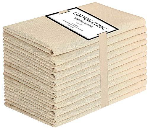 Clinica de algodon 12 Servilletas de Tela 50 x 50 cm, Servilletas de 100% Algodón, Suave y Cómoda, Calidad de...