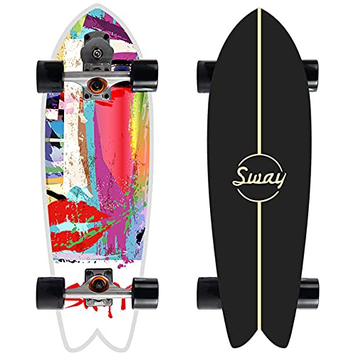 32 Professional Surfskate Talling Skateboard, Street Surfing Pumpping Skateboard, Principiante Concebo Cruiser Tablero Completo Maple de 7 Capas, camión CX4, Rodamientos ABEC-11,8