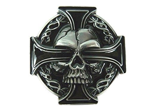 Skull Totenkopf schwarzes Eisernes Kreuz Gürtelschnalle Buckle, Schwarz, Grau, 8x8cm