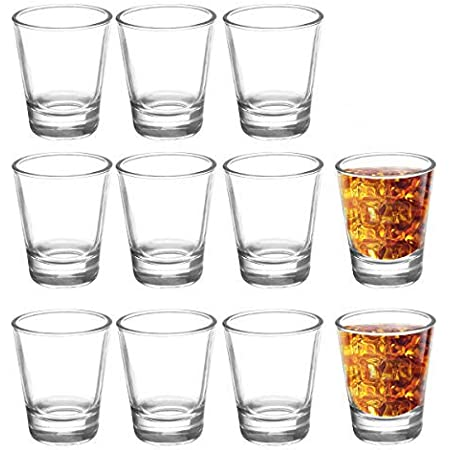 JOLLY CHEF Shot Glass Set with Heavy Base, 1.5 Ounce 12 Pack Tequila Shot Glasses, Clear Shot Glass for Whiskey and Liqueurs for Christmas ,Halloween ,Thanksgiving…