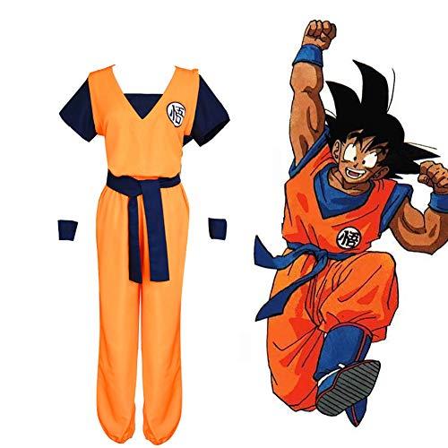 LISI Dragon Ball Cosplay Costume Adultos Goku Disfraz Bata baño Ropa Chándal con Peluca para Entrenamiento En Artes Marciales,B,M