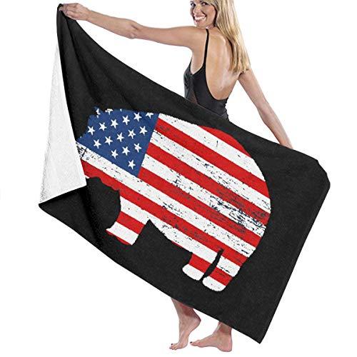 90ioup Toalla de Playa de Microfibra con Bandera Americana de hipopotamo Albornoz de Secado rapido