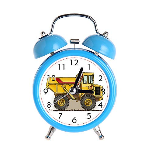 Children's Alarm Clock Vintage Retro Silent Pointer Clocks Round Number Dual Bell Loud Black Alarm Clock Bedside Night Light Home Decors Big Dump Truck Wristwatch