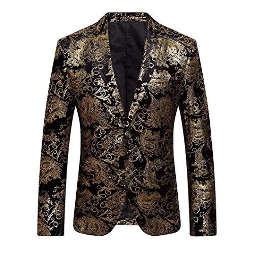 Herenpak Jassen Esailq Herenbloemenprint Moderne Casual Golden Suit Lapel Lapel Slim Fit Stijlvolle Blazer Jas