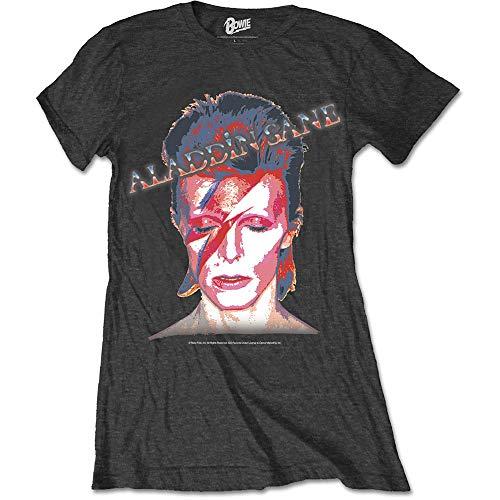 David Bowie Aladdin Sane Camiseta, Negro, L para Mujer