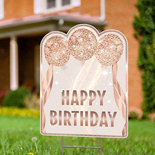 Double Sided Happy Birthday Yard Signs with Stakes - 17 x 13 Happy Birthday Lawn Sign with Stakes - Rose Gold Yard Birthday Sign - Outdoor Birthday Yard Decorations & Happy Birthday Signs for Yard