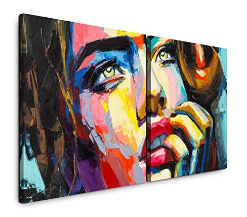 Paul Sinus Art GmbH Frau in bunt 120x60cm - 2 Wandbilder je 60x60cm Kunstdruck modern Wandbilder XXL Wanddekoration Design Wand Bild