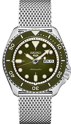 Seiko Relógio masculino automático esportivo 5 com pulseira de aço inoxidável, prata, 22 (modelo: SRPD75)