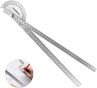 Protractor Angle Finder, Jhua 0-180° Round 30CM Head Protractor Stainless Steel Adjustable Measure Goniometer Angle Ruler ...
