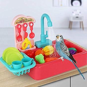 Baignoire pour oiseaux, baignoire pour perroquets pour animaux de compagnie semblant jouer évier de cuisine jouet lave-vaisselle électrique jouant jouet perroquet baignoire avec robinet boîte de bain