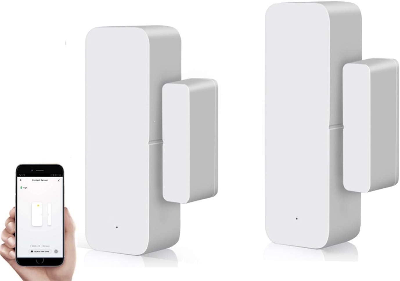 WiFi Door Alarm Sensor Wireless Security Window Open Alert Compatible with Tuya or Smart Life APP for Home Bussiness Burglar Alert