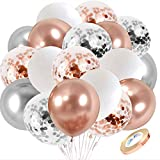 Rose Gold Silver Confetti Latex Balloons, 60 pcs 12 inch White Metallic Silver Party Balloon with 33 Ft Rose Gold Ribbon for Birthday Wedding Anniversary Bridal Shower Decoration