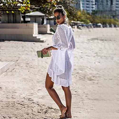 Tacobear Mujer Pareos Playa Traje de Baño Verano Vestido de Playa Sexy Bikini Cover up Camisola de Playa Túnica de Punto (Blanco)