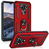 PUSHIMEI Compatible for LG Harmony 4/Xpression Plus 3/Premier Pro Plus/K41/K40S case,Military Grade Armor Protection Phone Case Cover with HD Screen Protector Magnetic Ring Kickstand (Red)
