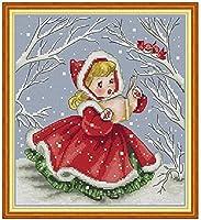 刻印されたクロスステッチキット雪の季節の小さな女の子11CTプリント刺繍、パターンニードルポイントスターターキット、大人の初心者と子供向けの家の装飾とギフト用16x20インチ