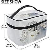 Gufo delle nevi Uccello bianco raro Grande borsa per cosmetici Borsa da viaggio Organizzatore per trucco Porta abiti da donna Borsa da toilette per ragazze, 23X17X16Cm