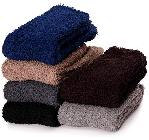 Men Fuzzy Socks Soft Cabin Warm Cozy Fleece Stocking Stuffers Plush Fluffy Winter Slipper Christmas Sleep Socks for Adult(Multicolor A-6 Pairs)