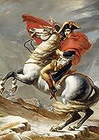 絵画風 壁紙ポスター (はがせるシール式) ダヴィッド 皇帝 ナポレオン・ボナパルト 白馬 絵画 キャラクロ K-DVD-001A2 (A2版 420mm×594mm) 建築用壁紙+耐候性塗料