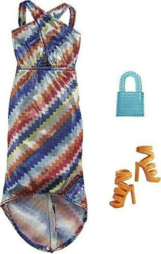 Barbie Shimmer Fashion Pack - GRC03 - Lange gestreepte jurk + handtas + hakschoen - nieuw