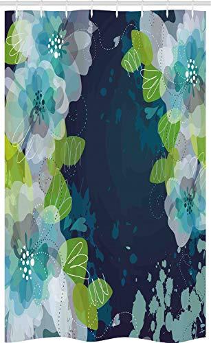ABAKUHAUS Marine Schmaler Duschvorhang, Grunge abstrakte Blumen, Badezimmer Deko Set aus Stoff mit Haken, 120 x 180 cm, Hellgrün Marineblau & Weiß