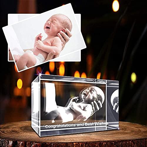 Personalizado 3D holográfico foto grabado dentro del cristal con su propia imagen (cumpleaños, regalo de boda, Memorial, Día de la Madre, San Valentín, Navidad)