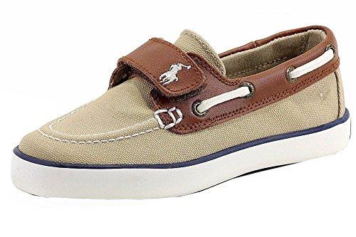 Polo Ralph Lauren Boy's Sander-CL EZ Fashion Boat Shoes (12 - Little Kid, Khaki)