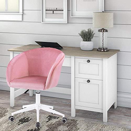 Samt Schreibtischstuhl Bürostuhl mit Armen Luxuriöses Kissen für Home Office Drehstuhl Grau