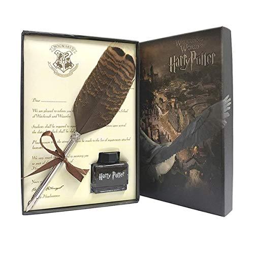 Pluma de búho con juego de tinta para los fans de Harry Potter, regalo, pluma de caligrafía de tinta para caligrafía para niños, amigos, Navidad, cumpleaños, set de regalo,