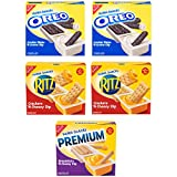 30 individually wrapped Handi-Snacks snack packs: 12 OREO Cookie Sticks 'N Creme Dip, 12 RITZ Crackers 'N Cheesy Dip, and 6 Premium Breadsticks 'N Cheesy Dip (6 packs per box, 5 boxes total). Enjoy dunkable and spreadable treats from OREO, RITZ, and ...