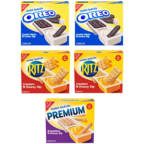 Nabisco Oreo Cookie Sticks 'N Creme Dip, Ritz Crackers 'N Cheesy Dip & Premium Breadsticks 'n Cheesy Dip, Handi-Snacks Variety Pack, 60 Pack, 5Count